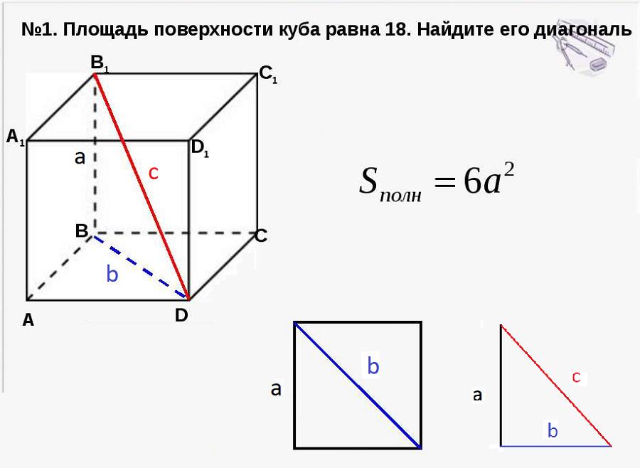 Диагональ куба равна   найдите площадь