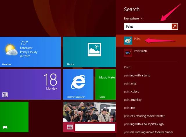 Где находится paint в Windows 8